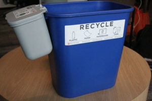Recycling bin with attached waste bin