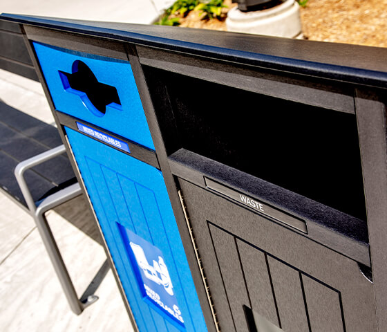 Busch Systems Aspyre Collection Aura Series double in black and blue in a city park outside closeup