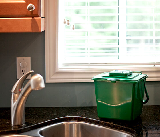 Busch Systems green Kitchen Composter container with vented lid and handle beside kitchen sink