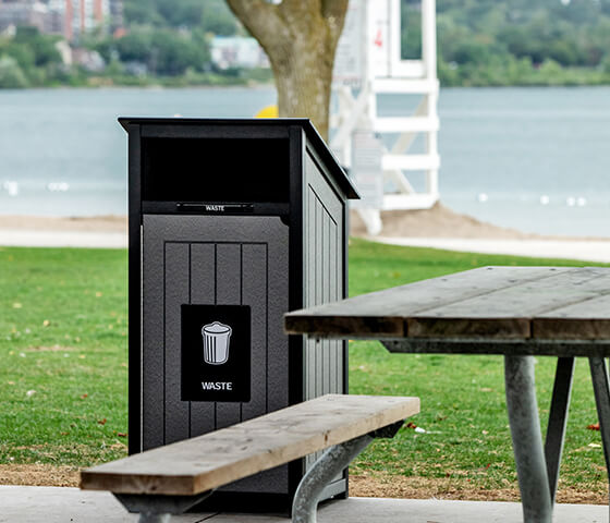 Busch Systems Aspyre Collection Aura Series single in black and grey in a city beach outside
