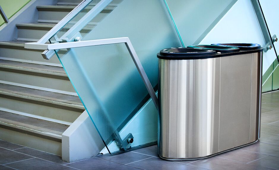 Busch Systems stainless steel Boka triple stream recycling and waste container