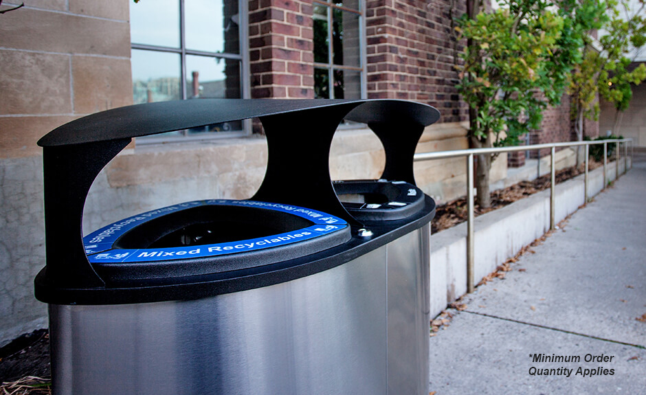 Busch Systems stainless steel Boka double stream recycling and waste container with labels and canopy lid