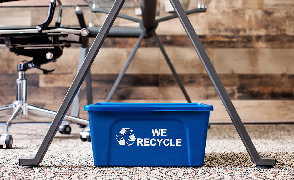 Busch Systems Deskside Recycler container in blue with mobius loop we recycle graphic