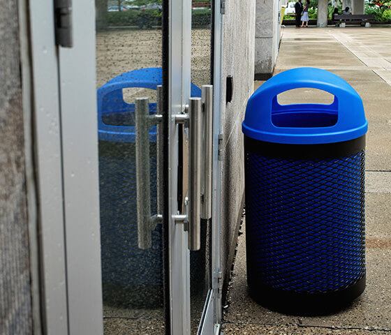 Busch Systems Toronto single stream container with blue liner and blue dome lid