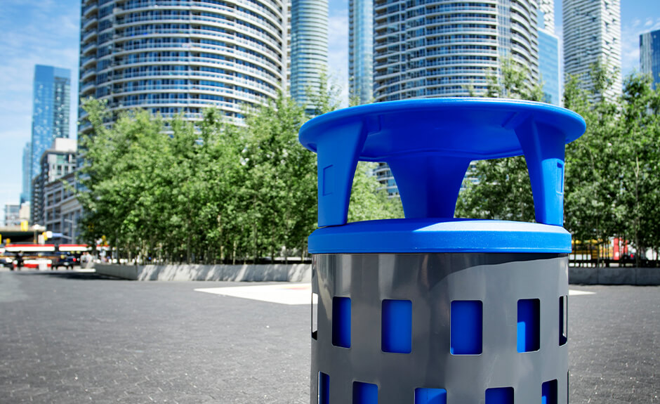 Busch Systems Vancouver single stream container with blue liner and blue canopy lid